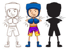 A sketch of a male boxer in three different colours Royalty Free Stock Photography