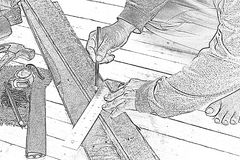 Sketch male carpenter working with wood pencil with machinist square at work place.Background craftsman tool.Zoom in01 stock image