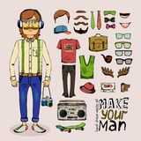 Sketch male hipster set Stock Photography
