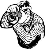 Sketch of a male photographer takes pictures Stock Image
