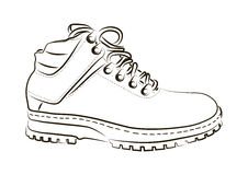 Sketch of a male shoe on white background. royalty free illustration