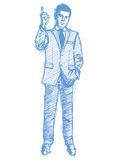 Sketch male in suit Stock Photos