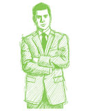 Sketch Man Businessman In Suit Royalty Free Stock Image