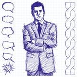Sketch Man Businessman In Suit Stock Image