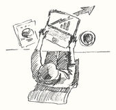 Sketch man computer office work drawn top view Stock Photos