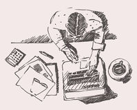 Sketch of Man with Computer Office Work Hand Drawn Stock Photos