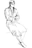 Sketch of man in a dressing-gown sits barefoot Royalty Free Stock Images