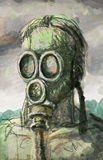 Sketch of a man in a gas mask Stock Image