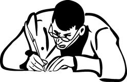 Sketch of a man with glasses writing quill pen Royalty Free Stock Photography
