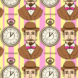 Sketch man in hat and pocket watch vector illustration