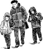 Sketch of a man with his children going to school Royalty Free Stock Images