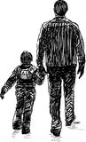 Sketch of a man with his kid on a stroll vector illustration