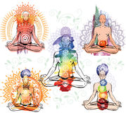 Sketch of man in meditating and doing yoga poses. Set Sketch of man in meditating and doing yoga poses Stock Photo