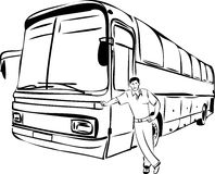 Sketch of a man near his bus driver Royalty Free Stock Photography