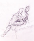 Sketch man. pencil drawing on old paper. Sketch man. pencil drawing on old paper Royalty Free Stock Photo