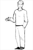 Sketch of man points his index finger Royalty Free Stock Photography