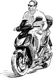Sketch of a man riding a motorbike Stock Images