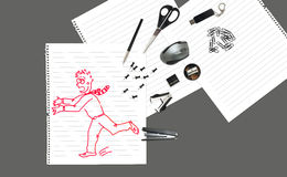 Sketch of man running away from stationary Royalty Free Stock Photography