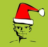 Sketch of man with santa hat Stock Image