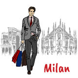 Sketch of man with shopping bags Royalty Free Stock Images