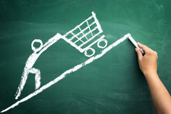 Sketch man with shopping chart Royalty Free Stock Photos