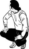 Sketch a man squat and looks aside Royalty Free Stock Photo