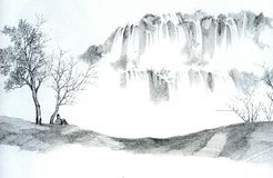 Sketch of Man and Waterfalls Stock Image