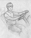 Sketch of a man at the wheel. Hand drawn pencil sketch of a driver at the wheel of his car. He's also wearing sunglasses Royalty Free Stock Photography
