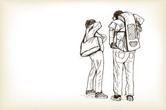 Sketch man and woman travel and waiting train, free hand draw il Royalty Free Stock Photography