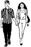 Sketch of man and woman walking hand in handm Royalty Free Stock Photos
