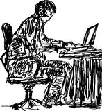 Sketch of a man working behind computer table Stock Images