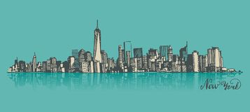 Sketch of Manhattan New York Royalty Free Stock Images