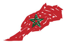 Sketch map flag Morocco Stock Photography