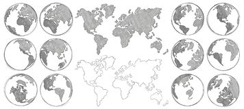 Sketch map. Hand drawn earth globe, drawing world maps and globes sketches isolated vector illustration. Sketch map. Hand drawn earth globe, drawing world maps royalty free illustration