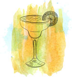 Sketch of margarita cocktail on orange watercolor stain Stock Images