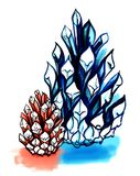 A sketch marker. Two abstract pine cones in pink and blue. Hand-. Drawn illustration. Isolated on white background Stock Photography