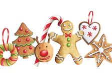 Sketch markers Christmas cookies on a white background. Sketch d. One in alcohol markers. You can use for greeting cards, posters and design projects Royalty Free Stock Image