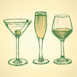 Sketch martini, champagne and wine glass Royalty Free Stock Photo