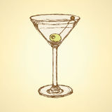 Sketch martini glass with olive Royalty Free Stock Photo