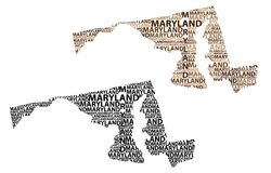 Map of Maryland - vector illustration. Sketch Maryland United States of America letter text map, Maryland map - in the shape of the continent, Map Maryland Royalty Free Stock Photo