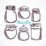 Sketch mason jars Stock Photography