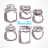 Sketch mason jars - 2 Stock Images