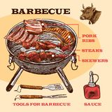Sketch meat bbq infographic Stock Photography