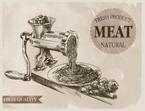 Sketch of meat grinder. Hand drawn sketch outdated grinder in the processing of meat Royalty Free Stock Photo