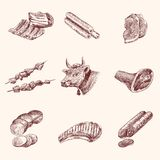 Sketch meat icons Stock Photo
