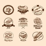 Sketch meat labels Royalty Free Stock Photography