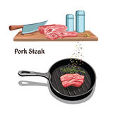 Sketch Meat Steak Cooking Template Stock Photo