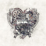 Sketch of a mechanical heart, 3D Illustration Royalty Free Stock Photo