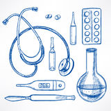 Sketch medical supplies Royalty Free Stock Image