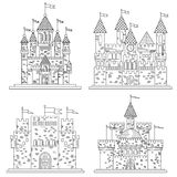Sketch for medieval castles and fortress. Sketch in thin line for medieval castles and fortress, citadel or chateau, royal or kings mansion or residence Stock Photo